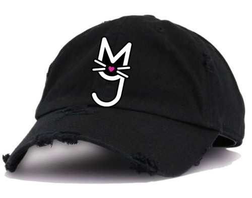Girl in hat, More Than A Pussy Hat, M.T.A.P. Kitty Hat, Dad Hat, Distressed Hat, Kitty Hat, Cat Hat