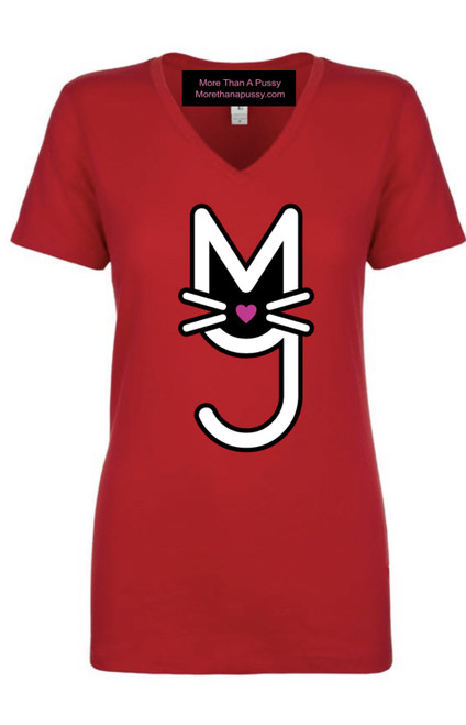 V-Neck tee, V-neck Tee Shirt with More Than A Pussy M.T.A.P. Kitty logo