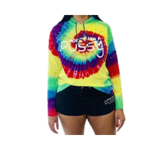 Tie Dye Hoodie Tee with White More Than A Pussy Emblem