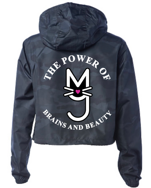 Black Windbreaker Jacket with glow in the dark More Than A Pussy, M.T.A.P. Kitty The Power of Brains and Beauty Logo