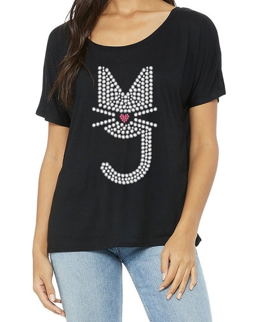 Off the shoulder T-shirt, Rhinestone  Kitty, More Than A Pussy M.T.A.P. Kitty