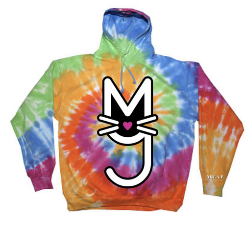 Rainbow Tie Dye Oversize Hoodie with White More Than A Pussy M.T.A.P. Kitty Logo