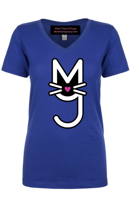 Nipsey Blue V-Neck tee, T-shirt, Royal Blue, More Than A Pussy M.T.A.P. Kitty t-shirt