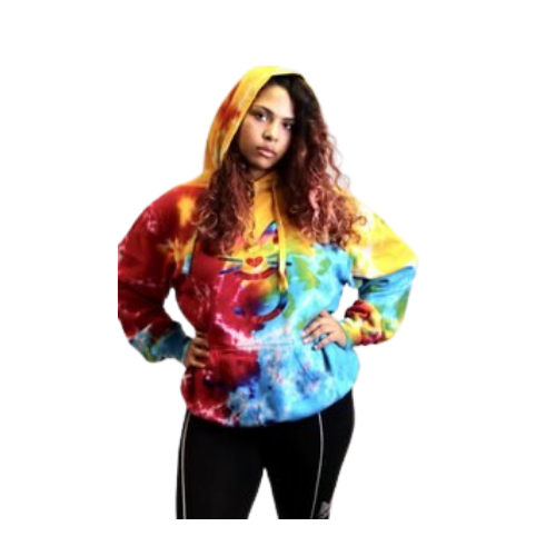 Rainbow Tie Dye Hoodie, with rainbow More Than A  Pussy