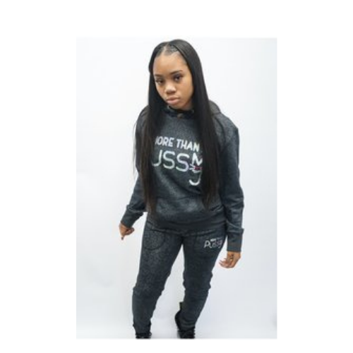 Black Sparkle Sweatsuit w/Silver More Than A Pussy Logo