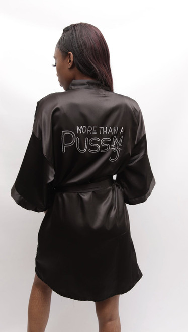Black Satin robe with More Than A Pussy rhinestone logo on the back, M.T.A.P. Kitty rhinestone Logo on the Lapel