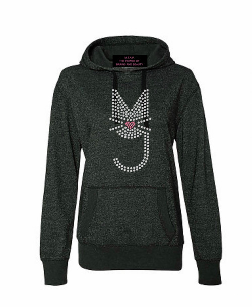 Black Sparkle Sweatsuit w/Rhinestone More Than A Pussy Logo, Bling, M.T.A.P. Kitty