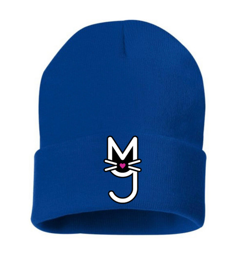 Knit beanie cap, hat,  with M.T.A.P. Kitty logo, More Than A Pussy, Royal Blue, Neon Green, Heather Brown Neon Pink, Black, Forest Green, Red, Maroon