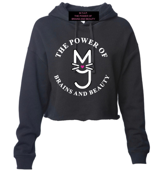Black, Cropped Hoodie with Power of the Brains and Beauty Logo