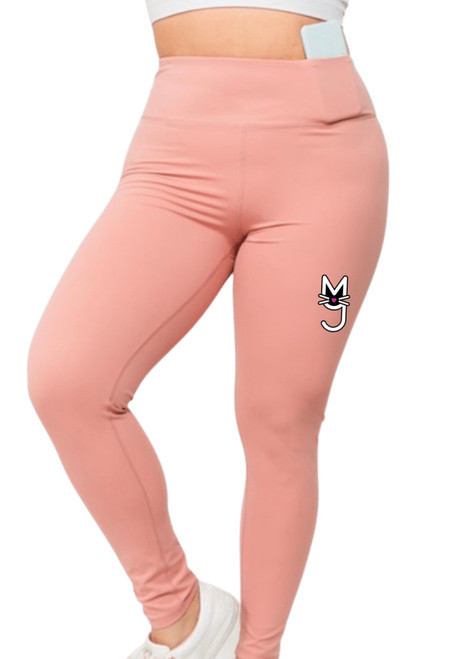 Blush Leggings with M.T.A.P. Kitty Logo, More Than A Pussy Leggings