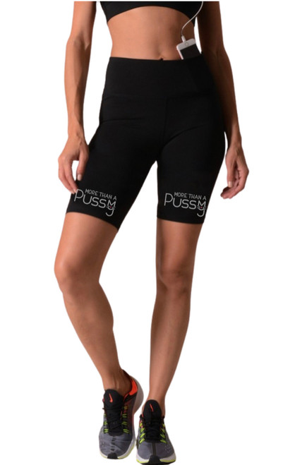 More Than A Pussy biker shorts with rhinestone logo