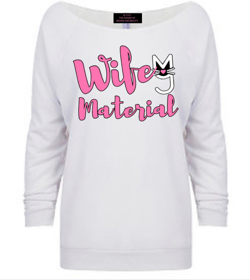 White off the shoulder top with Absolutely Fabulous rhinestone logo, More Than A Pussy rhinestone, bling top