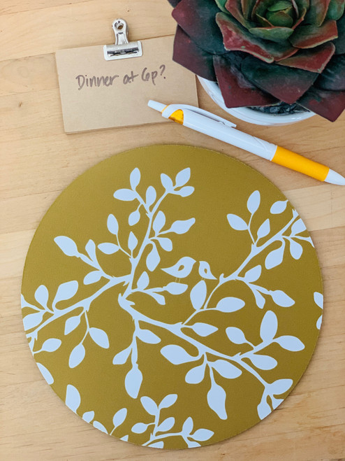 Fabric Trivet: Leaves in Bloom Mustard