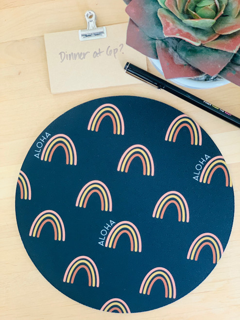Fabric Trivet: Rainbow Aloha Black