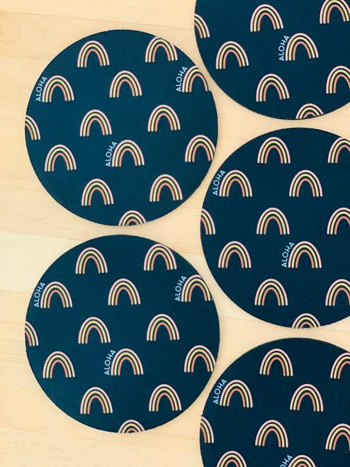 Fabric Coaster: Aloha Rainbow Black
