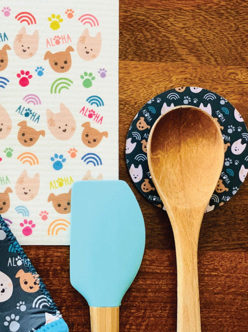 Fabric Coaster: Bear and Noodle