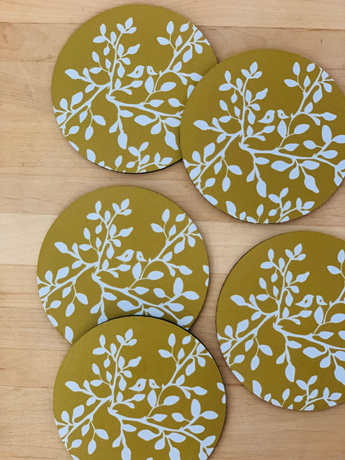 Fabric Coaster: Leaves in Bloom