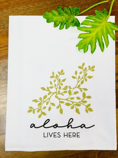 Dish Towel: Aloha Lives Here (Leaves)