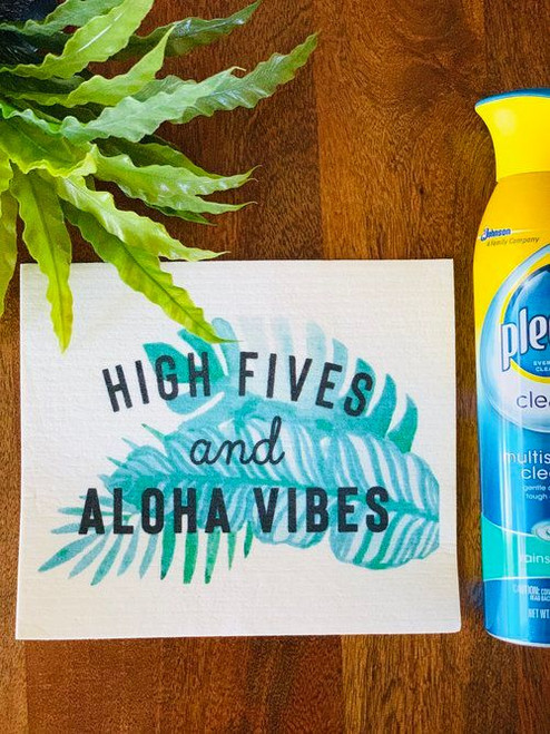 Swedish Dishcloth: High Fives and Aloha Vibes