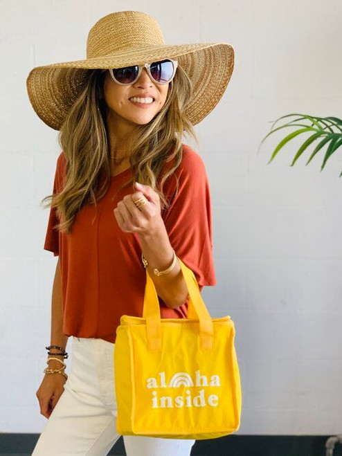 Square Lunch Tote: Aloha Inside Yellow