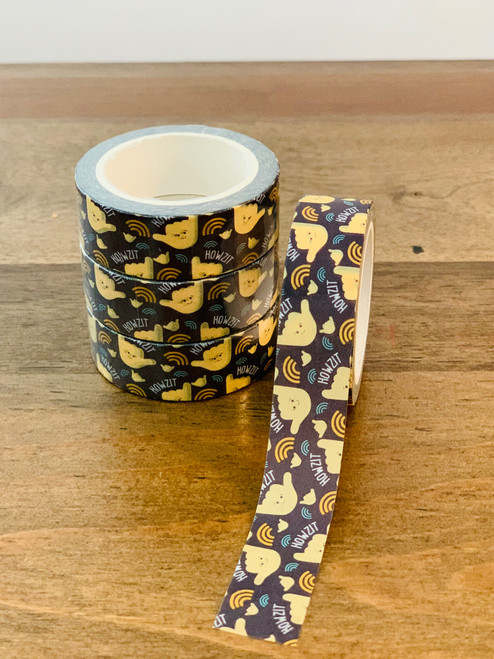 Washi Tape: Howzit Shaka (Black)