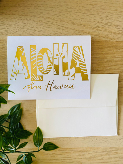 Gold Foil Greeting Card: Aloha From Hawaii