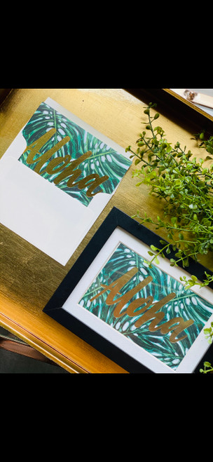 Gold Foil Greeting Card: Aloha Monstera