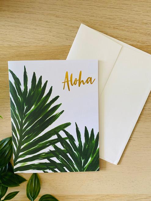 Gold Foil Greeting Card: Aloha Palm
