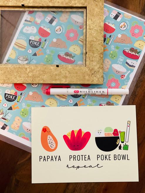Art Print: Papaya, Protea, Poke Bowl