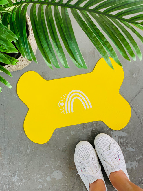 Dog Mat Aloha Paw Rainbow: Yellow