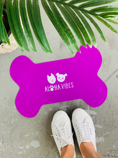 Dog Mat Aloha Vibes Bear and Noodle: Purple