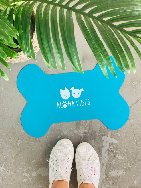 Dog Mat Aloha Vibes Bear and Noodle: Teal