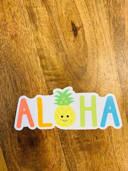 Sticker: Aloha Rainbow Pineapple