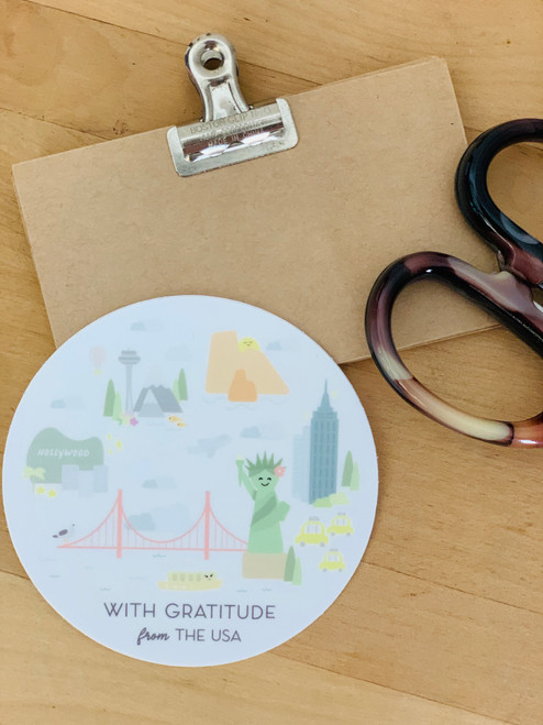 Sticker: With Gratitude from the USA