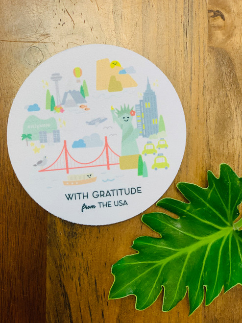 Fabric Coaster: Mahalo USA