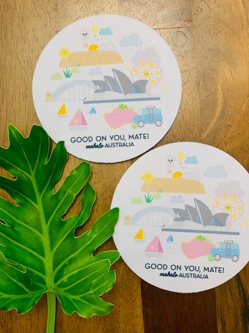 Fabric Coaster: Mahalo Australia