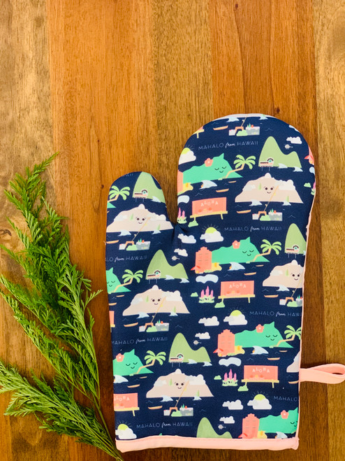 Fabric Oven Mitt: Mahalo From Hawaii