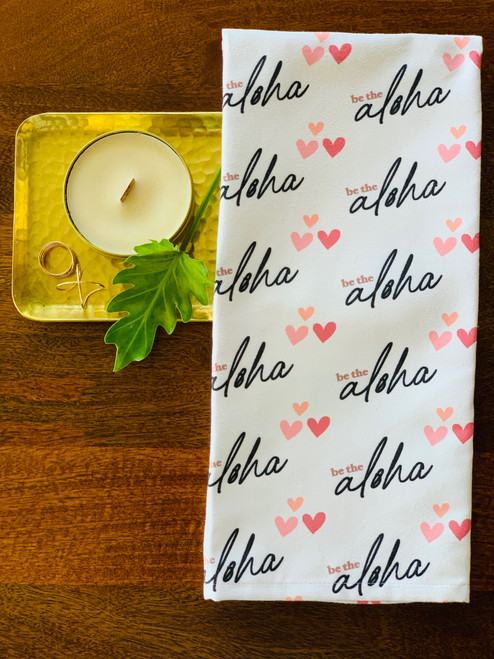 Luxe Kitchen Towel: Be The Aloha Script (White)