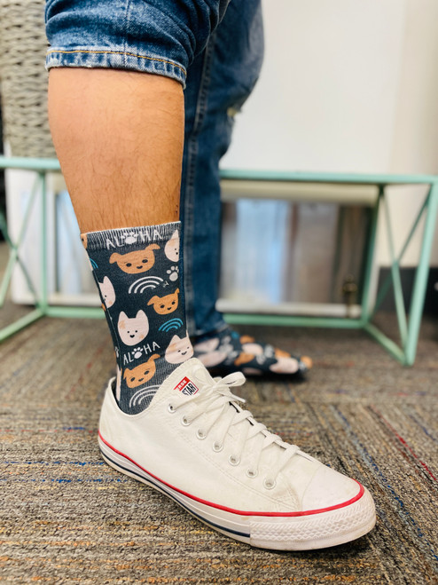 Crew Socks: Bear and Noodle