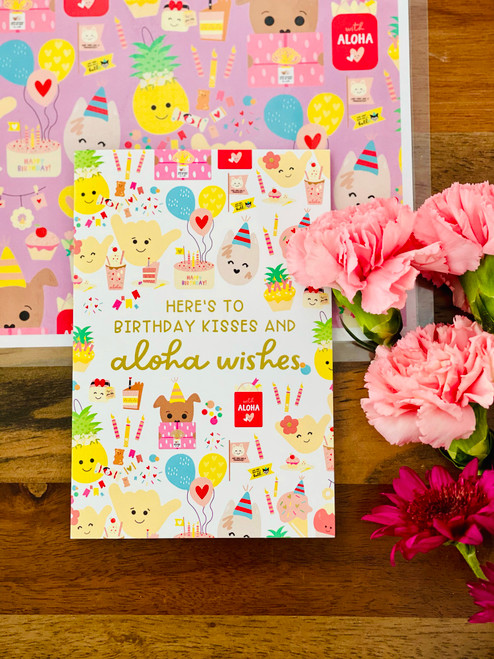 Greeting Card: Birthday Kisses and Aloha Wishes