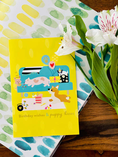Greeting Card: Birthday Wishes and Puppy Kisses