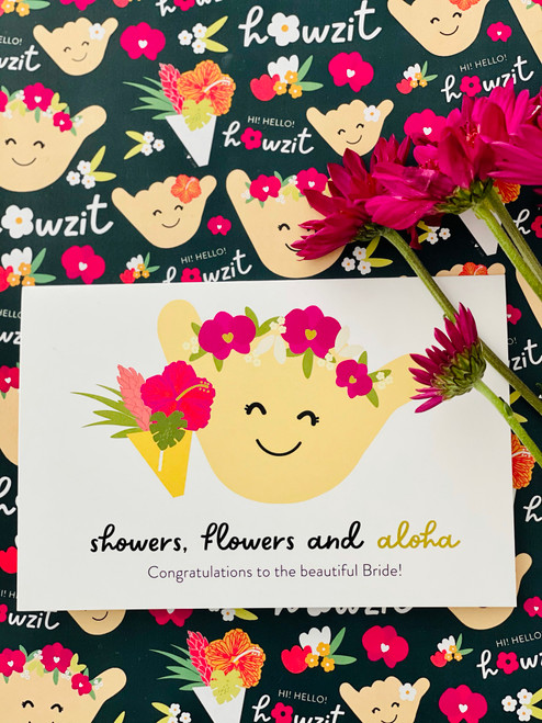 Greeting Card: Showers, Flowers and Aloha - Congrats