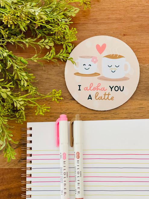 Fabric Coaster: I Aloha You A Latte