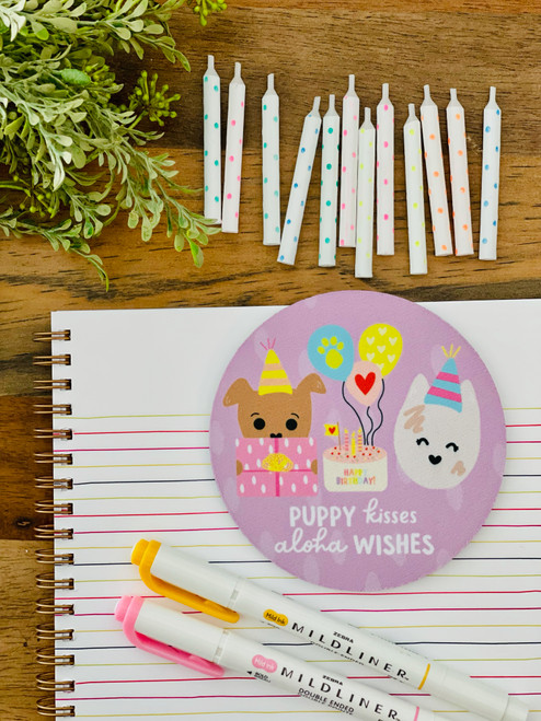 Fabric Coaster: Puppy Kisses and Aloha Wishes
