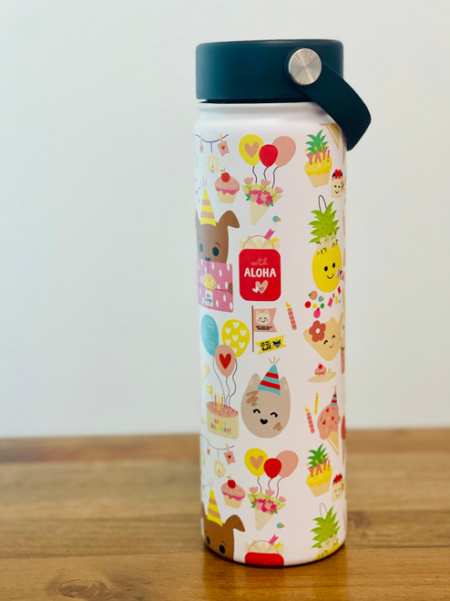 20 oz insulated water bottle with birthday characters with black twist cover cap with handle.