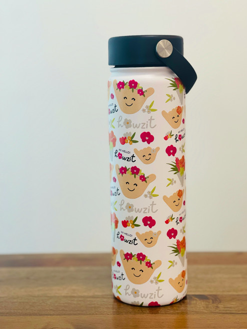 20 oz insulated water bottle with shaka characters with flower crowns on with black twist cover cap with handle.