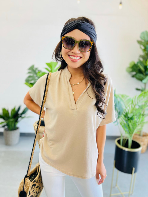 Rosa Top: Taupe