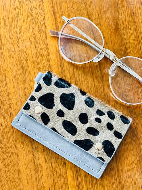 Caila Leather Cardholder: Grey Spot