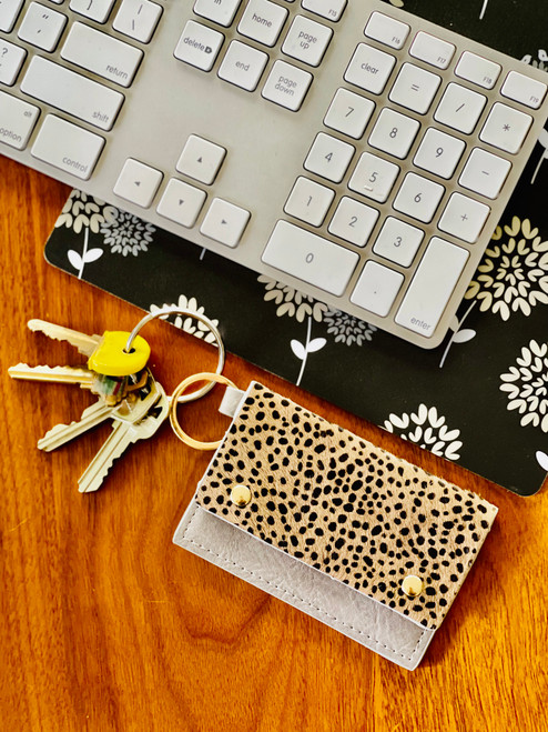Caila Leather Cardholder: Grey Speckle