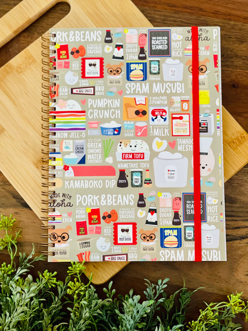 spiral notebook with food icons on it